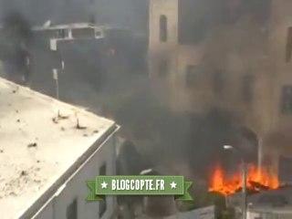 L'église du Prince Saint Tadros en feu par des pro-Morsi à Minya, en Égypte