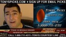 Cincinnati Bengals vs. Tennessee Titans Pick Prediction NFL Pro Football Odds Preview 8-17-2013