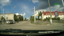 Terrible Car accident involving walkers in Russia!! Close to a fatal accident...