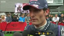 BBC F1: Mark Webber Post Race interview (2013 Belgian Grand Prix)