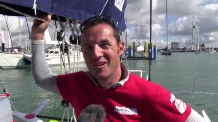 François Gabart and Michel Desjoyeaux win the Fastnet Race 2013 in the Imoca Class