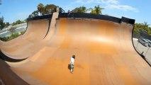 Skateboarding vert ramp session