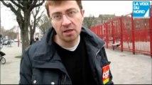 Manifestations des syndicats en marge des voeux de Nicolas Sarkozy à Lille