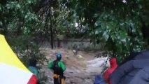 Crazy kayaker on Boulder Creek during flood