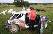 Crash de Roberta Kubicy dans un champs de vaches