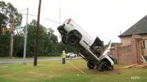 Teenage Driver Gets Truck Stuck on Guy-Wire