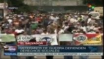 Veteranos salvadoreños protestan por pago de pensiones