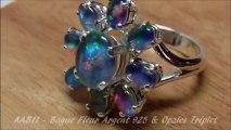 AAB11 - OPAL ORION - Bijou Bague Fleur Argent 925 & Opales Triplet Australie