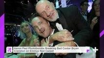 Aaron Paul Photobombs Breaking Bad Costar Bryan Cranston On Emmys Red Carpet