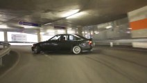BMW 325 Drifting To The Top of a Parkin!!