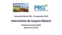 Université d'ete PRG 2013 - Discours de Jacques Mezard