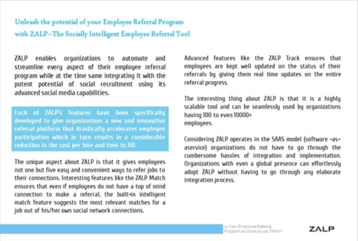 Employee Referral Program Benefits: Zalp