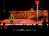 Dancers performing a dramatic act during Khajuraho Dance Festival