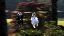 Watch: Bride and groom zip line down the aisle
