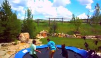 Playing Trampoline with Friends and flying... FAIL!!!
