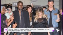Kanye West Is Swarmed By Fans And Paparazzi On The Way To His Porsche Panamera