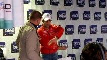 Loeb fait la roue sur le stand de France Bleu Alsace au Zénith de Strasbourg