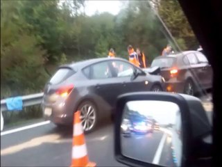 Accident sur l'A1 le 8 octobre 2013 (Mobile Reporter) [HD]