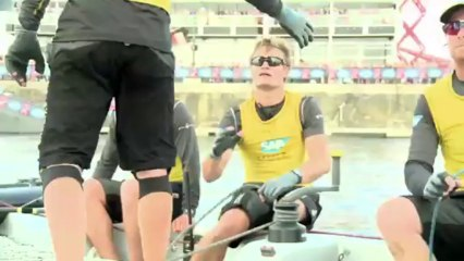 SAP Extreme Sailing Team versus Red Bull Sailing Team in a battle for the Series podium