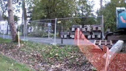 Issigeac, chantier du pont de la route de Bergerac, premier jour