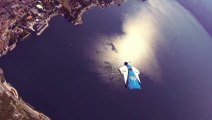 Crazy Wingsuit Flight - Man Lands on Water Without Parachute - Worlds First - 2013
