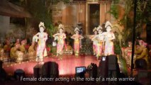 Puspanjali or Gabor Welcome Dance, Throwing flowers at Ubud Palace.  Bali Holidays