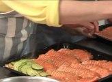 Le pavé de saumon aux courgettes et aux asperges