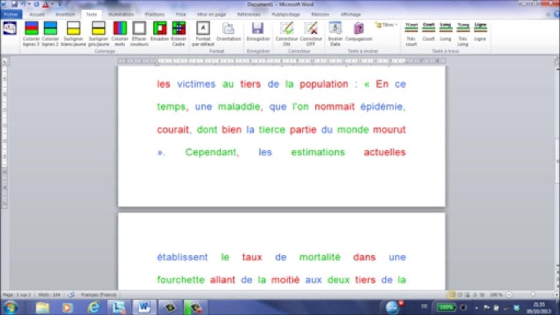 frise chronologique sur word