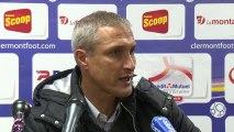 Conférence de presse Clermont Foot - AJ Auxerre (1-1) : Régis BROUARD (CF63) - Bernard  CASONI (AJA) - 2013/2014