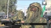 Hamasholdmilitaryrally on conflict anniversary