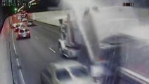Truck Hits Tunnel Roof - VIOLENT TRUCK CRASH