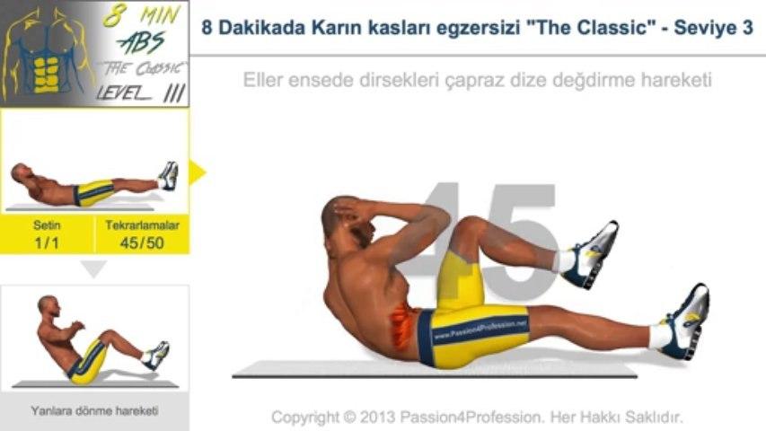 """8 Dakikada Karın kasları egzersizi """"The Classic"""" - Seviye 3"""