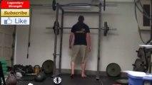 185x10 Front Squats, 245x1 Front Squat, 455x5 Half Squats