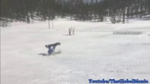 SnowBoard Jump Accident (Nearly Breaks Neck!)