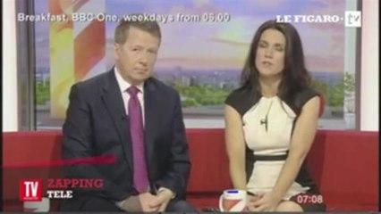 """Une présentatrice de la BBC fait sensation en faisant une """"Basic Instinct"""""""