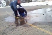 Guy Thinks He is Jumping in a Puddle, But... (Real Big Fun)