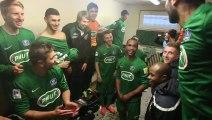La joie des joueurs de l' IC Croix après leur victoire façe au FC les Lilas en coupe de France