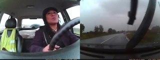 Cette femme reste calme pendant un accident de voiture