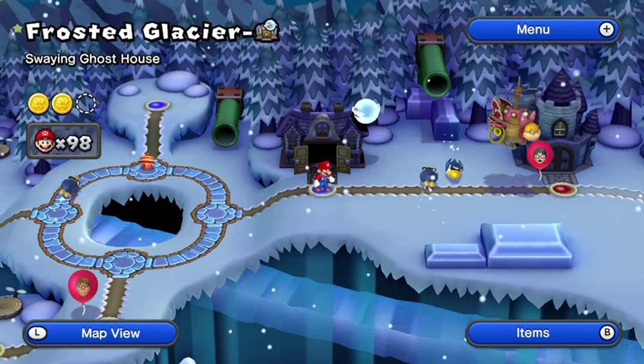 New Super Mario Bros U Walkthrough 32 Frosted Glacier Ghost House All Star Coins Hd 1080p Wii U Video Dailymotion