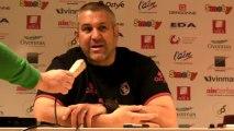 Rugby Top 14 - Christophe Urios au sujet du jeu au pied de son équipe en1ère mi-temps lors d'Oyonnax - Bayonn
