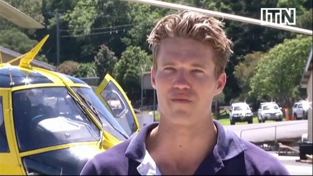 Helicopter rescue of two stranded fishermen in Australia caught on camera