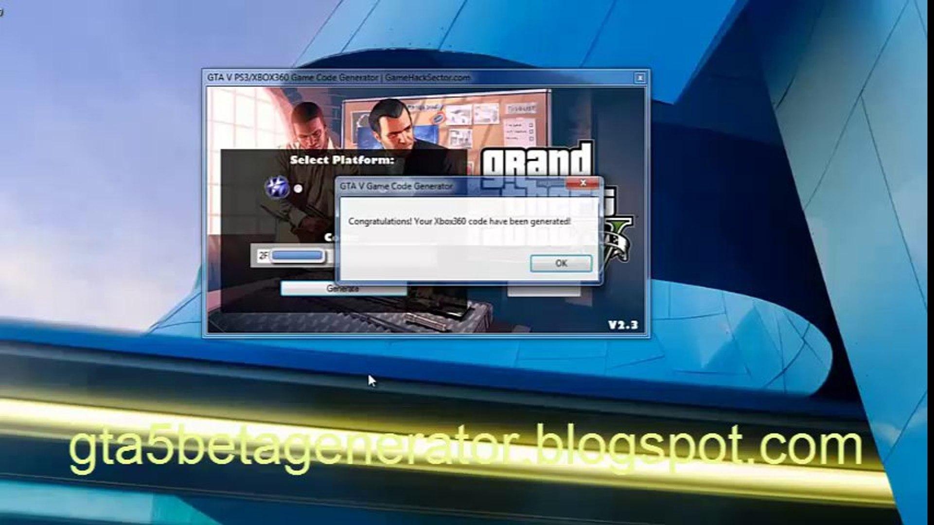 GTA V Beta Game Redeem Codes Generator [Xbox360 PS3] - video dailymotion