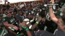 Grosse fête dans le vestiaire de l'équipe de Football américain Michigan state - victoire au Rose Bowl