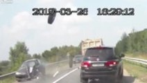 Flying truck tires cause havoc on the highway