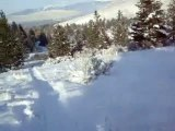 Sledding the hill behind my cabin up Pattee Canyon in Missoula, MT