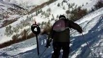 Les Deux Alpes 2014 - Appel du ventre, raccourci par la piste noire