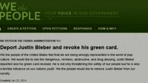 'Deport Bieber' petition gets thousands of signatures