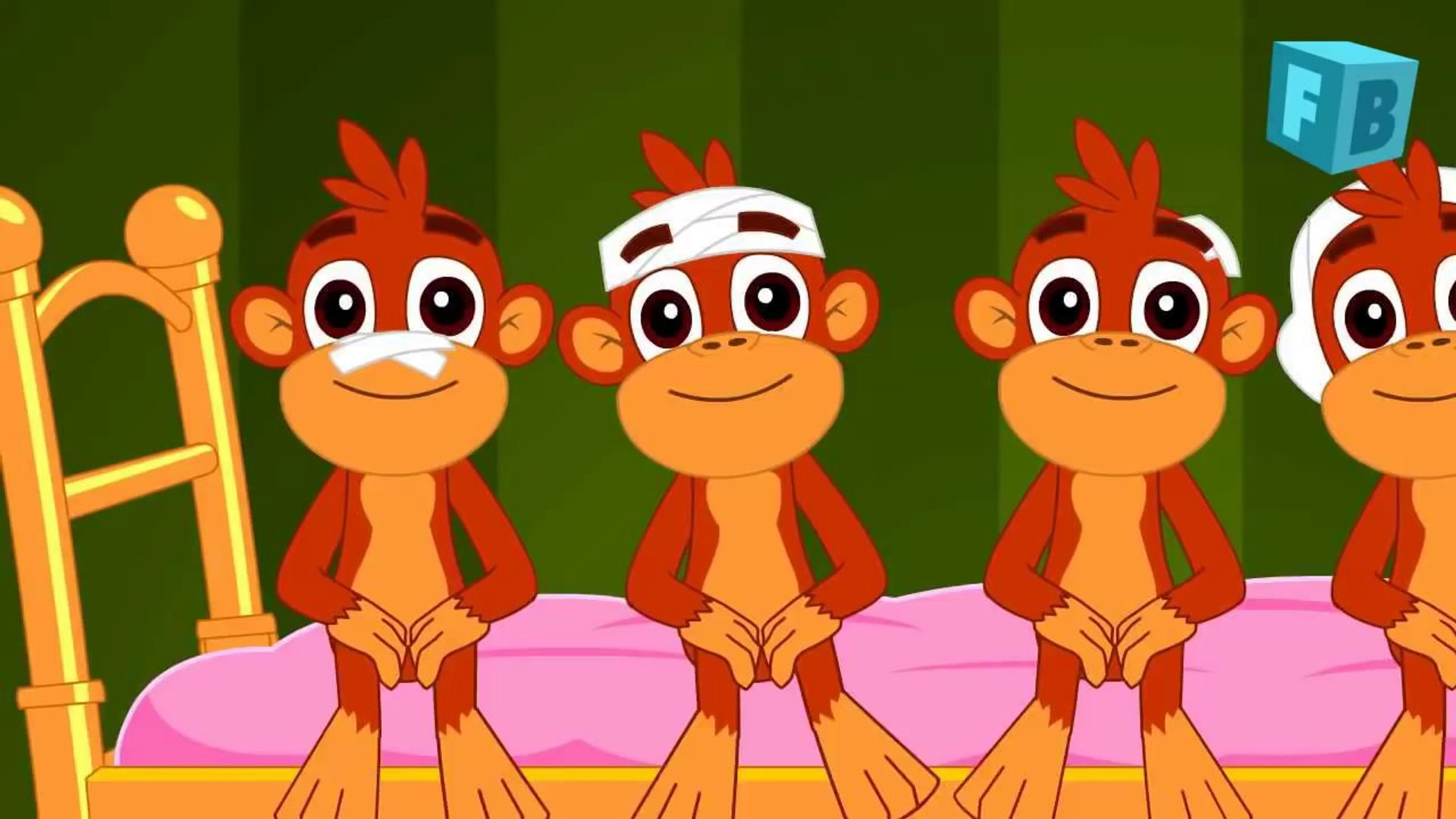 Five Little Monkeys Jumping On The Bed Children Nursery Rhyme Songs Video Dailymotion