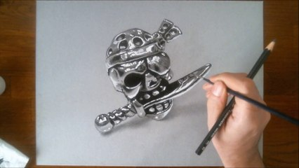 3D illusion drawing: the chrome pirate skull