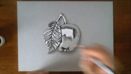 3D illusion realistic drawing: the chrome apple